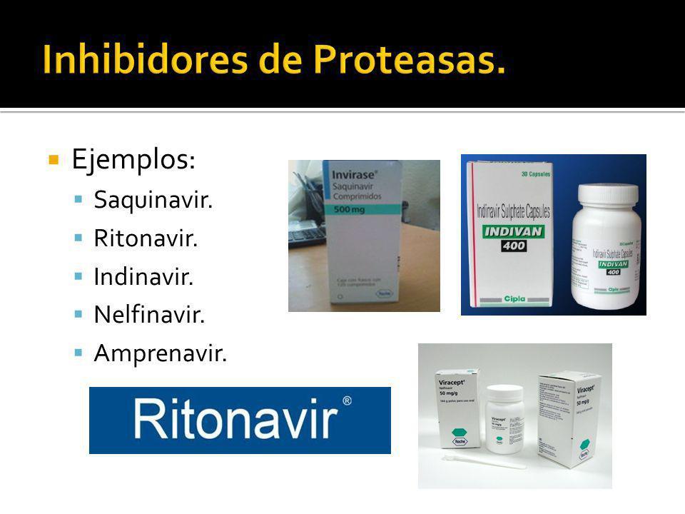 Ejemplos: Saquinavir. Ritonavir. Indinavir. Nelfinavir. Amprenavir.