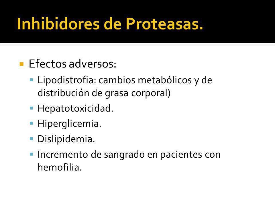 Efectos adversos: Lipodistrofia: cambios metabólicos y de distribución de grasa corporal) Hepatotoxicidad. Hiperglicemia. Dislipidemia. Incremento de