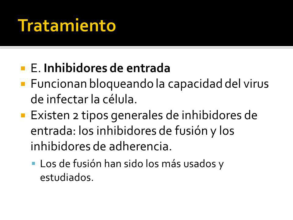 E. Inhibidores de entrada Funcionan bloqueando la capacidad del virus de infectar la célula. Existen 2 tipos generales de inhibidores de entrada: los
