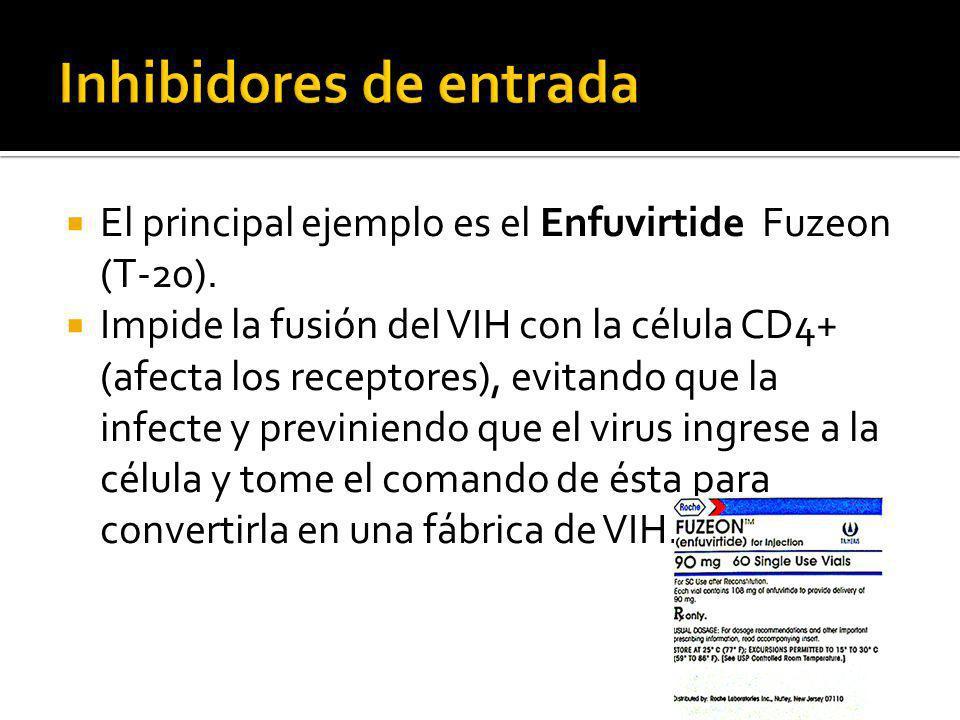 El principal ejemplo es el Enfuvirtide Fuzeon (T-20). Impide la fusión del VIH con la célula CD4+ (afecta los receptores), evitando que la infecte y p
