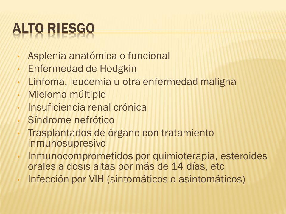 Asplenia anatómica o funcional Enfermedad de Hodgkin Linfoma, leucemia u otra enfermedad maligna Mieloma múltiple Insuficiencia renal crónica Síndrome
