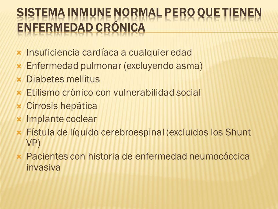 Insuficiencia cardíaca a cualquier edad Enfermedad pulmonar (excluyendo asma) Diabetes mellitus Etilismo crónico con vulnerabilidad social Cirrosis he