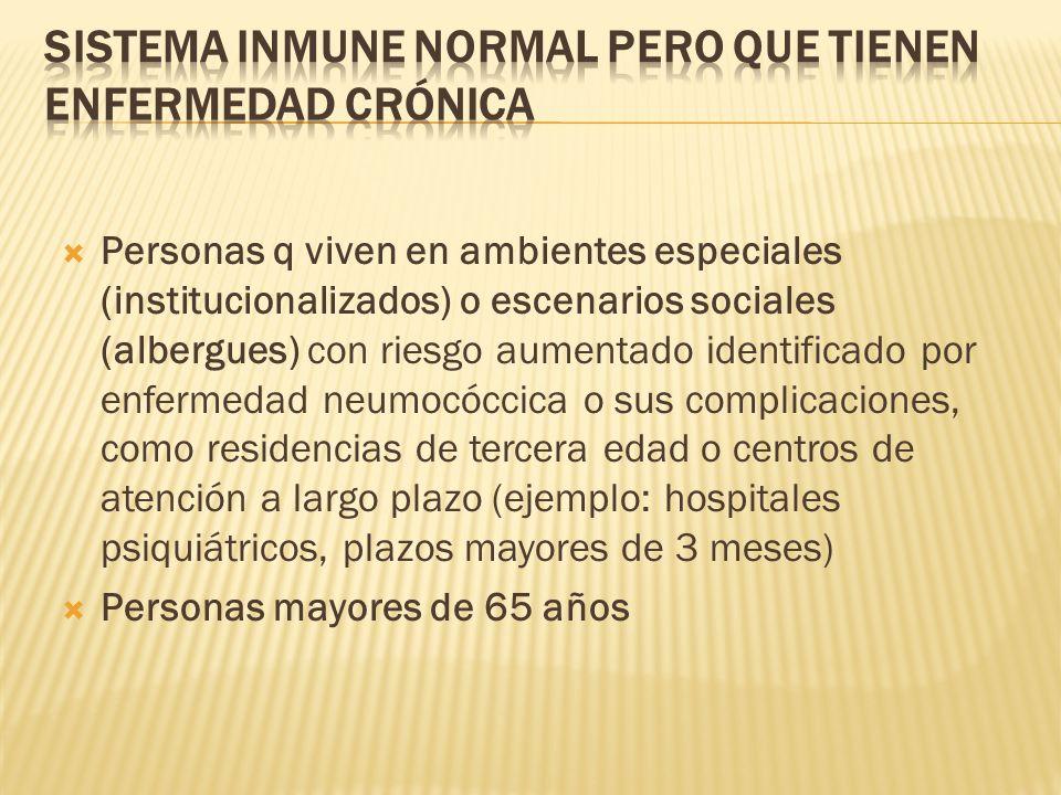 Personas q viven en ambientes especiales (institucionalizados) o escenarios sociales (albergues) con riesgo aumentado identificado por enfermedad neum
