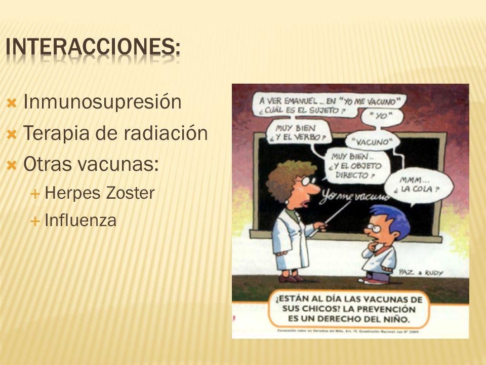Inmunosupresión Terapia de radiación Otras vacunas: Herpes Zoster Influenza