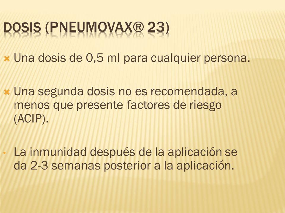 Una dosis de 0,5 ml para cualquier persona. Una segunda dosis no es recomendada, a menos que presente factores de riesgo (ACIP). La inmunidad después