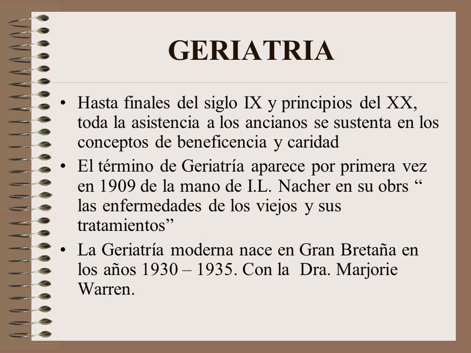 GERIATRIA Hasta finales del siglo IX y principios del XX, toda la asistencia a los ancianos se sustenta en los conceptos de beneficencia y caridad El
