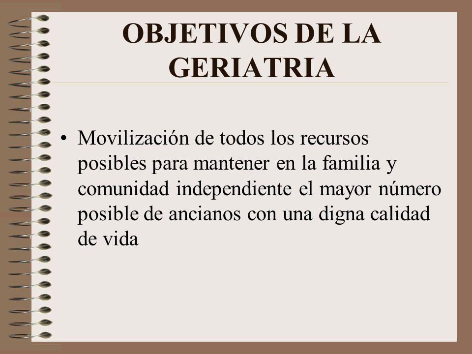 OBJETIVOS DE LA GERIATRIA Movilización de todos los recursos posibles para mantener en la familia y comunidad independiente el mayor número posible de