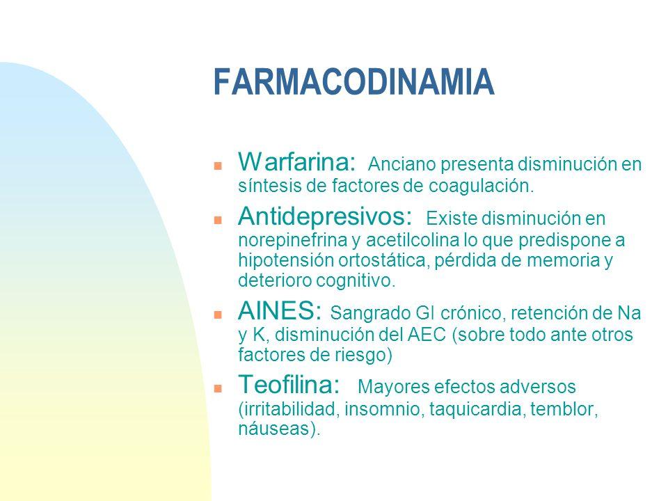 FARMACODINAMIA n Warfarina: Anciano presenta disminución en síntesis de factores de coagulación. n Antidepresivos: Existe disminución en norepinefrina