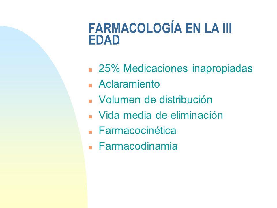 FARMACOLOGÍA EN LA III EDAD n 25% Medicaciones inapropiadas n Aclaramiento n Volumen de distribución n Vida media de eliminación n Farmacocinética n F