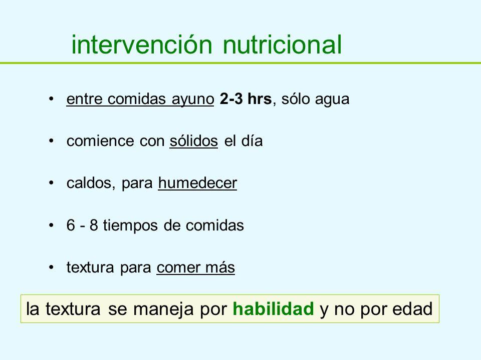 intervención nutricional entre comidas ayuno 2-3 hrs, sólo agua comience con sólidos el día caldos, para humedecer 6 - 8 tiempos de comidas textura pa