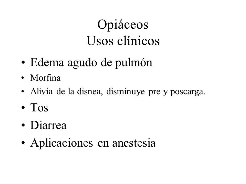 Opiáceos Usos clínicos Edema agudo de pulmón Morfina Alivia de la disnea, disminuye pre y poscarga. Tos Diarrea Aplicaciones en anestesia