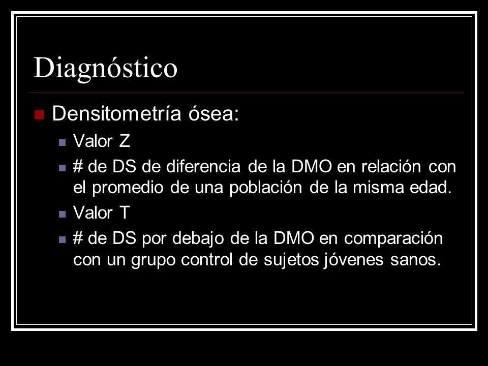 Diagnóstico Densitometría ósea: Valor Z # de DS de diferencia de la DMO en relación con el promedio de una población de la misma edad. Valor T # de DS