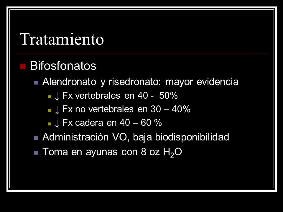 Tratamiento Bifosfonatos Alendronato y risedronato: mayor evidencia Fx vertebrales en 40 - 50% Fx no vertebrales en 30 – 40% Fx cadera en 40 – 60 % Ad