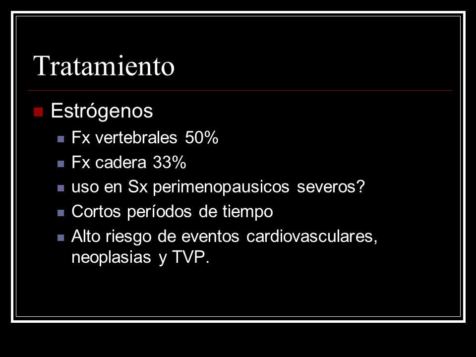 Tratamiento Estrógenos Fx vertebrales 50% Fx cadera 33% uso en Sx perimenopausicos severos? Cortos períodos de tiempo Alto riesgo de eventos cardiovas