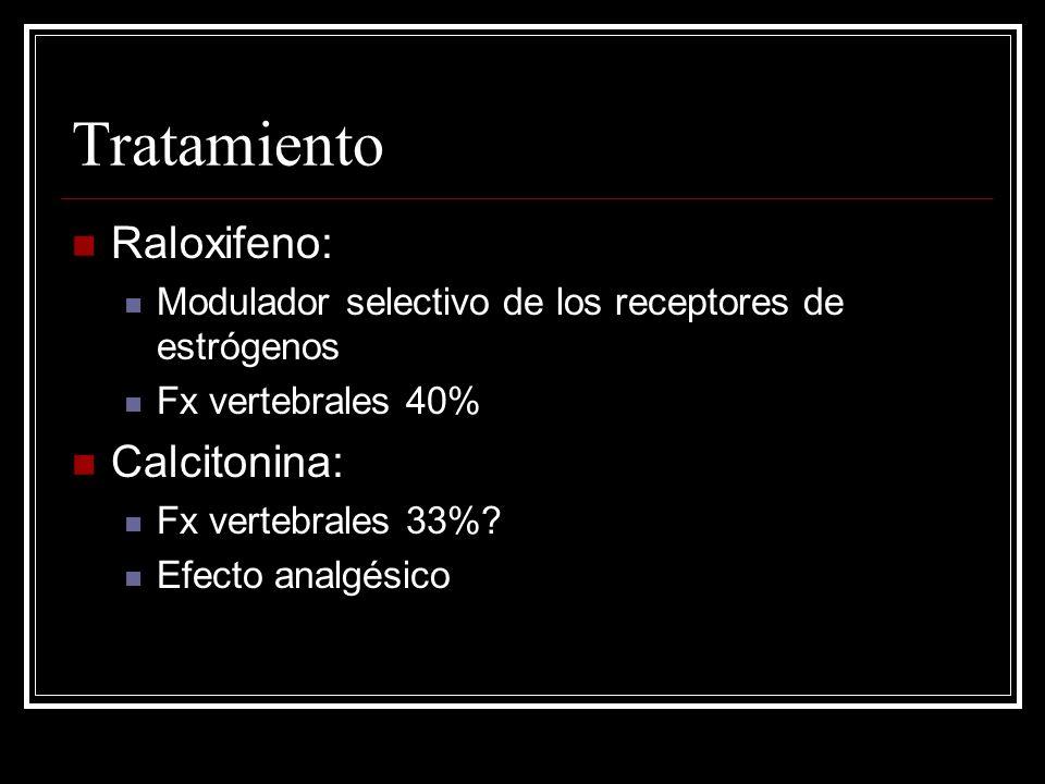 Tratamiento Raloxifeno: Modulador selectivo de los receptores de estrógenos Fx vertebrales 40% Calcitonina: Fx vertebrales 33%? Efecto analgésico