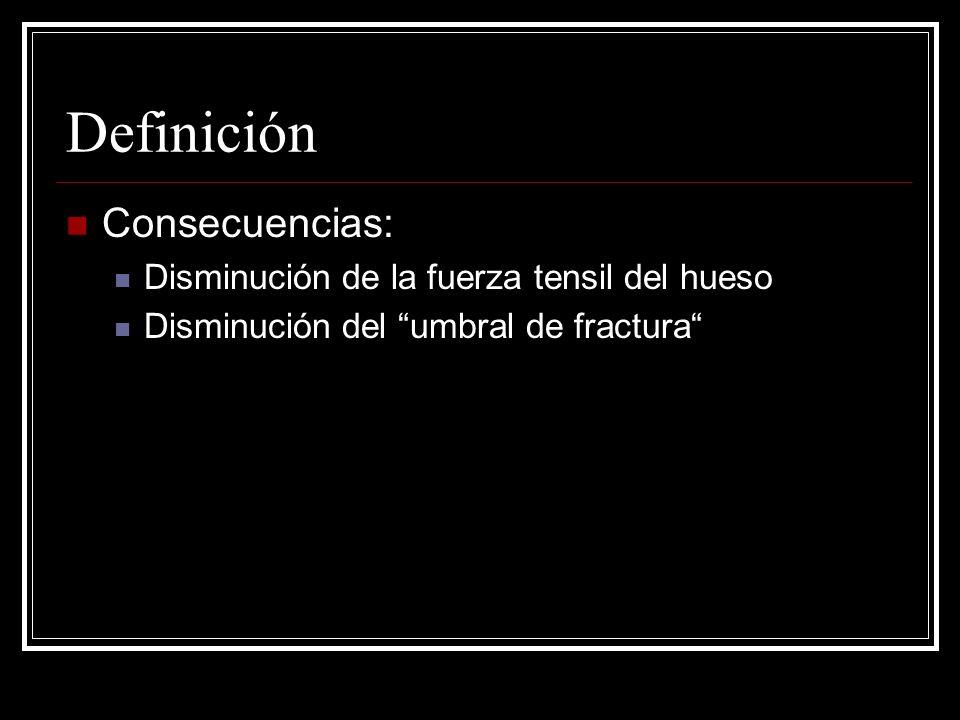 Definición Consecuencias: Disminución de la fuerza tensil del hueso Disminución del umbral de fractura