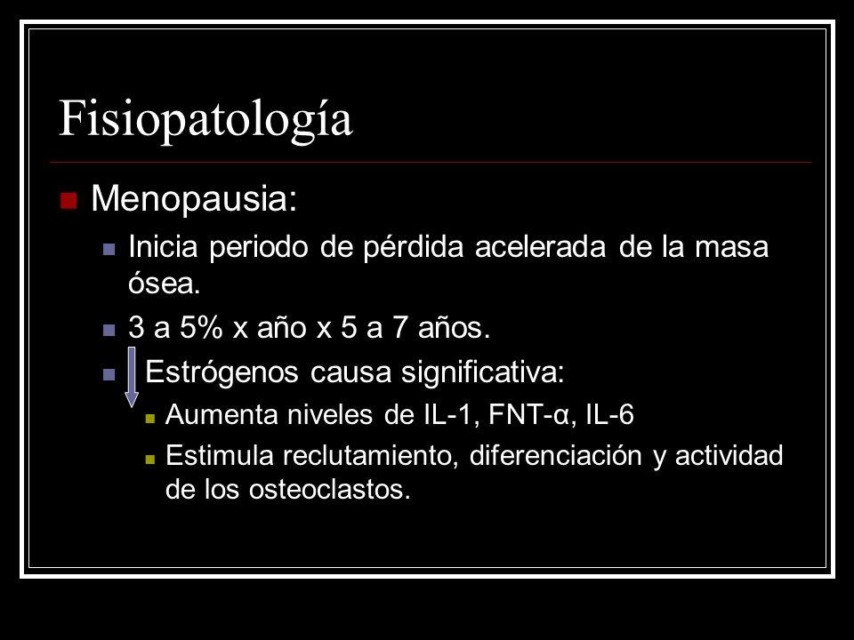 Fisiopatología Menopausia: Inicia periodo de pérdida acelerada de la masa ósea. 3 a 5% x año x 5 a 7 años. Estrógenos causa significativa: Aumenta niv