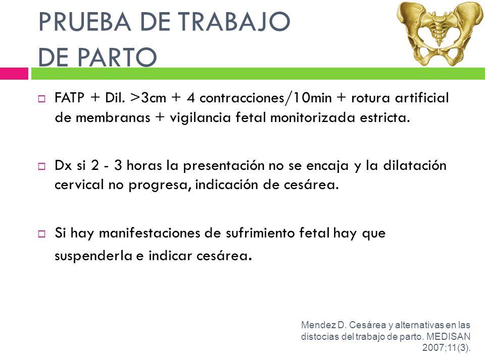 PRUEBA DE TRABAJO DE PARTO FATP + Dil. >3cm + 4 contracciones/10min + rotura artificial de membranas + vigilancia fetal monitorizada estricta. Dx si 2