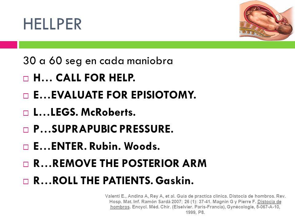 HELLPER 30 a 60 seg en cada maniobra H… CALL FOR HELP. E…EVALUATE FOR EPISIOTOMY. L…LEGS. McRoberts. P…SUPRAPUBIC PRESSURE. E…ENTER. Rubin. Woods. R…R