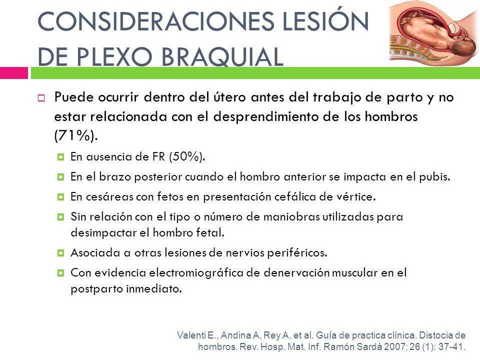 CONSIDERACIONES LESIÓN DE PLEXO BRAQUIAL Puede ocurrir dentro del útero antes del trabajo de parto y no estar relacionada con el desprendimiento de lo