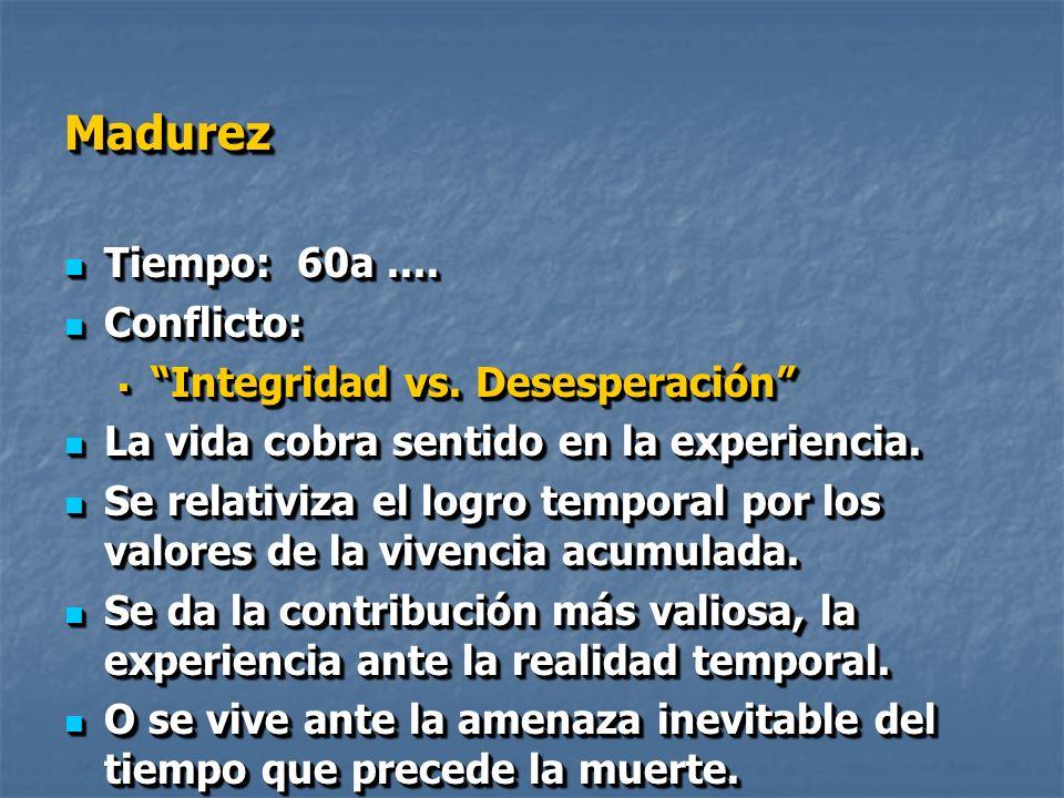 MadurezMadurez Tiempo: 60a....Tiempo: 60a.... Conflicto: Conflicto: Integridad vs.
