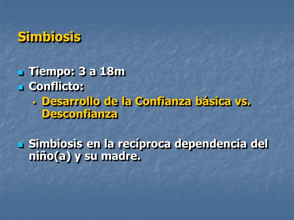SimbiosisSimbiosis Tiempo: 3 a 18m Tiempo: 3 a 18m Conflicto: Conflicto: Desarrollo de la Confianza básica vs.