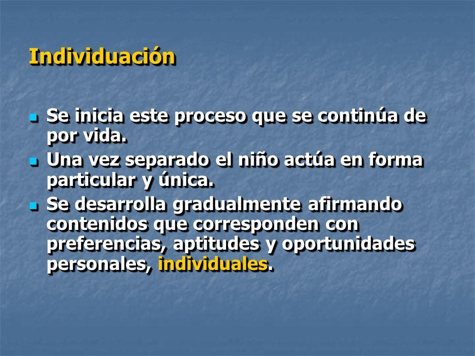 IndividuaciónIndividuación Se inicia este proceso que se continúa de por vida.