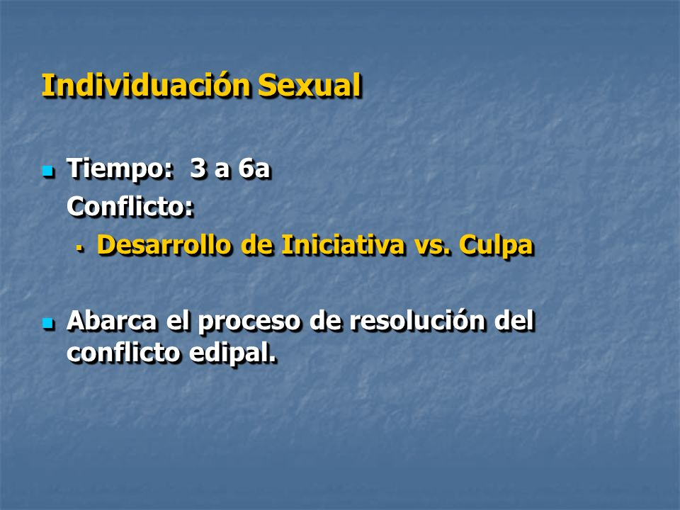 Individuación Social Tiempo: 6 a 12a Tiempo: 6 a 12a Conflicto: desarrollo del sentimiento de ser Capaz y productivo vs.