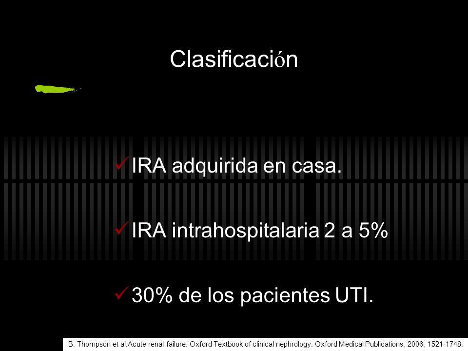 Clasificaci ó n Seg ú n el volumen urinario: no olig ú rica (m á s de 400 ml por d í a) olig ú rica (100 a 400 ml por d í a) an ú rica (menos de 100 ml por d í a) B.