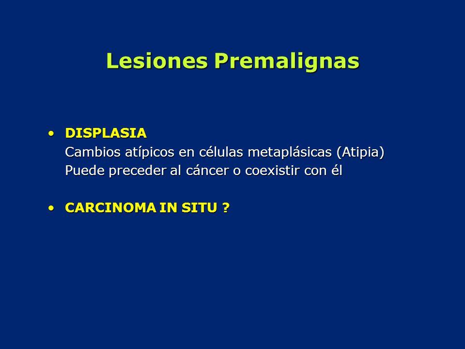 Lesiones Premalignas DISPLASIADISPLASIA Cambios atípicos en células metaplásicas (Atipia) Puede preceder al cáncer o coexistir con él CARCINOMA IN SIT