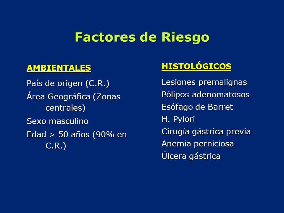Factores de Riesgo AMBIENTALES País de origen (C.R.) Área Geográfica (Zonas centrales) Sexo masculino Edad > 50 años (90% en C.R.) HISTOLÓGICOS Lesion