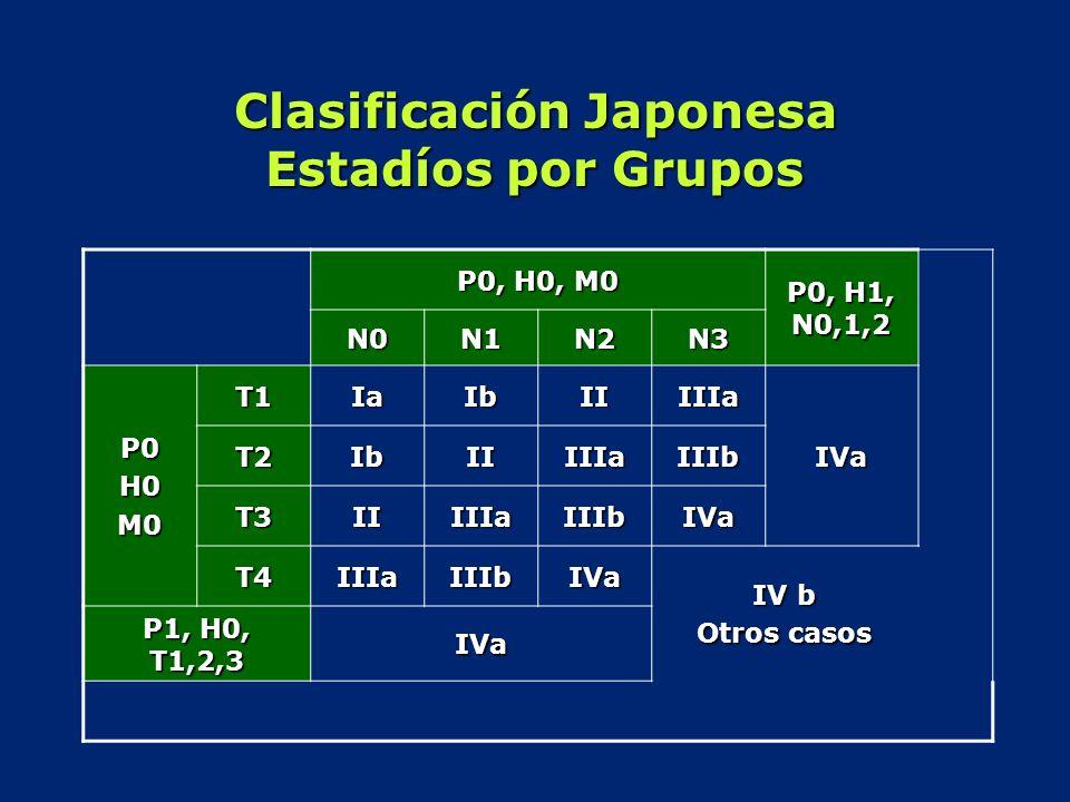 Clasificación Japonesa Estadíos por Grupos P0, H0, M0 P0, H1, N0,1,2 N0N1N2N3 P0H0M0 T1IaIbIIIIIa IVa T2IbIIIIIaIIIb T3IIIIIaIIIbIVa T4IIIaIIIbIVa IV