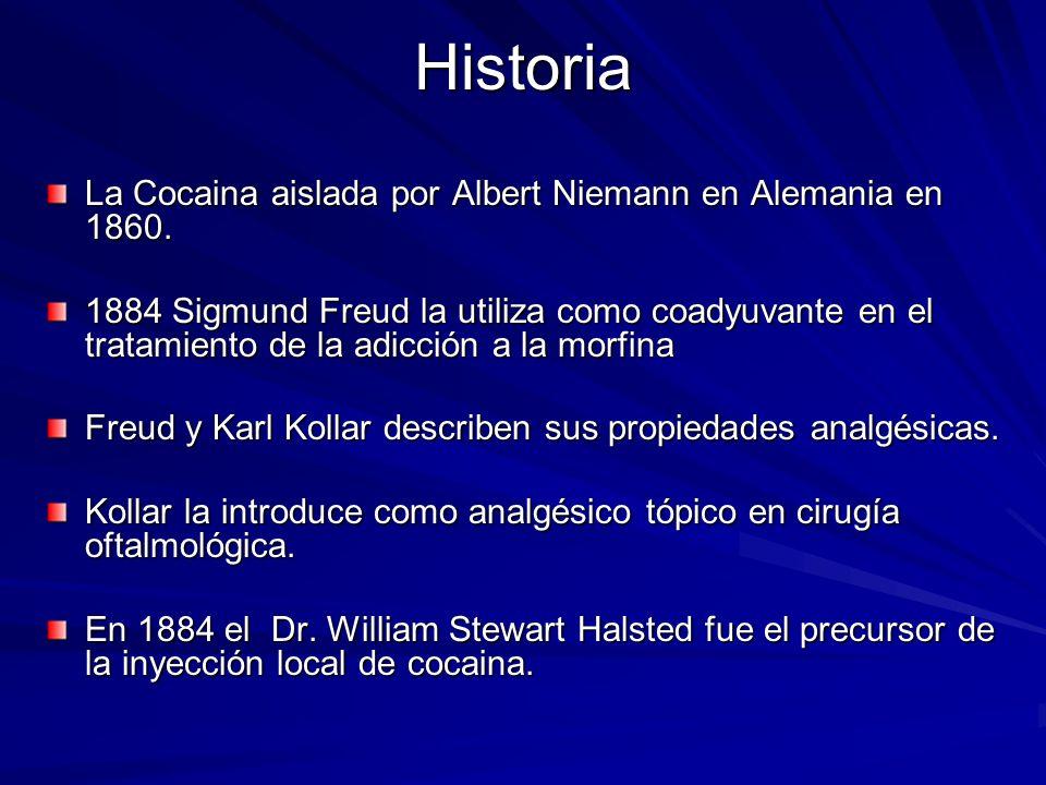 Historia La Cocaina aislada por Albert Niemann en Alemania en 1860. 1884 Sigmund Freud la utiliza como coadyuvante en el tratamiento de la adicción a