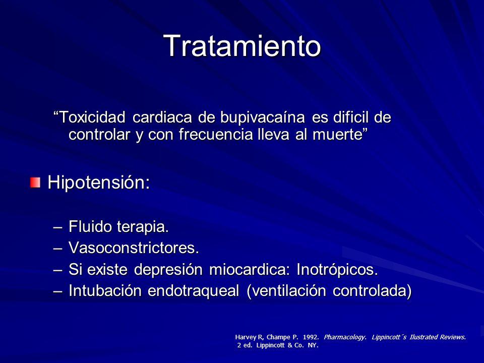 Tratamiento Toxicidad cardiaca de bupivacaína es dificil de controlar y con frecuencia lleva al muerte Hipotensión: –Fluido terapia. –Vasoconstrictore