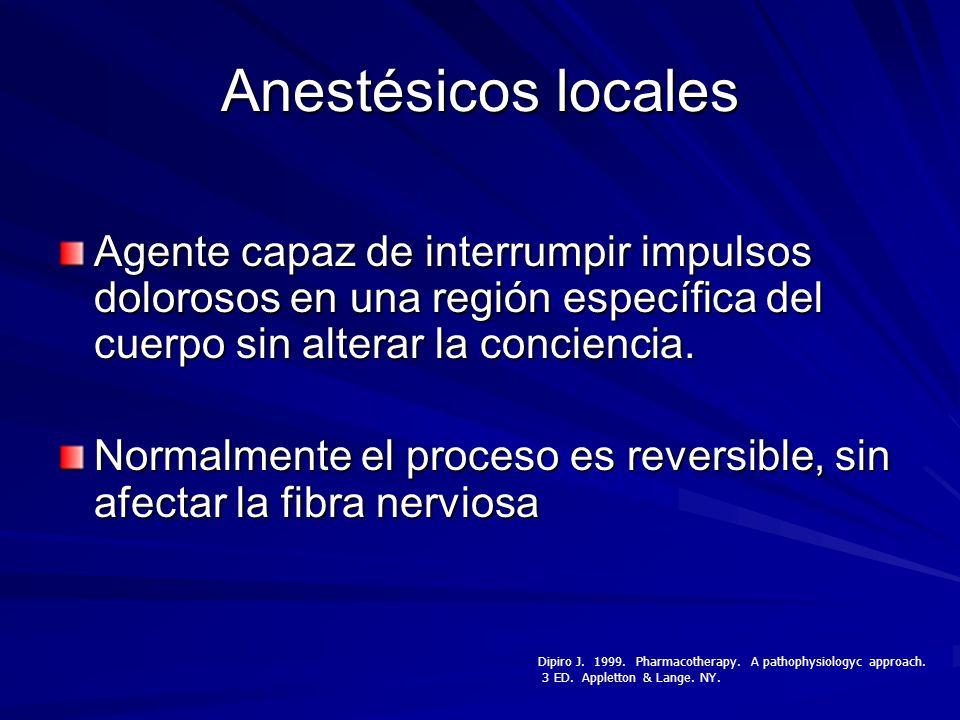 Anestésicos locales Agente capaz de interrumpir impulsos dolorosos en una región específica del cuerpo sin alterar la conciencia. Normalmente el proce