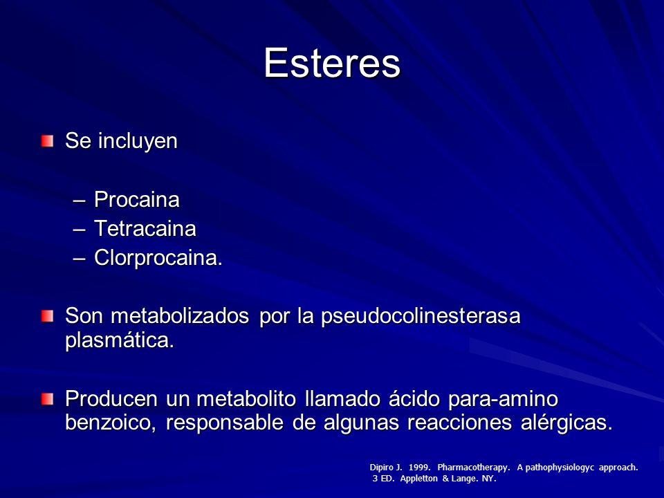 Esteres Se incluyen –Procaina –Tetracaina –Clorprocaina. Son metabolizados por la pseudocolinesterasa plasmática. Producen un metabolito llamado ácido