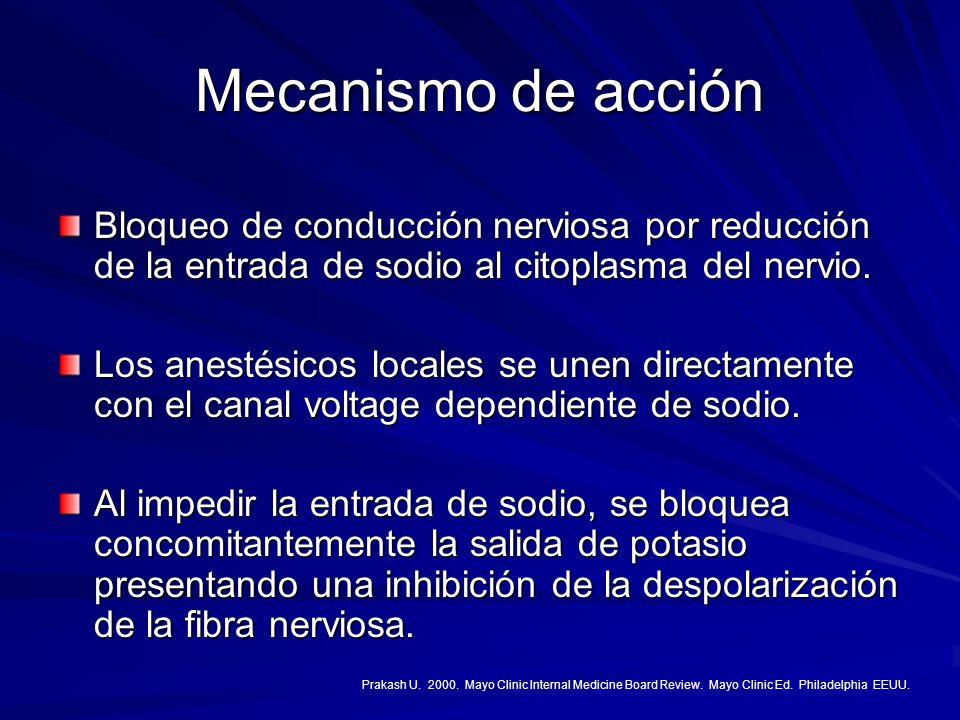 Mecanismo de acción Bloqueo de conducción nerviosa por reducción de la entrada de sodio al citoplasma del nervio. Los anestésicos locales se unen dire