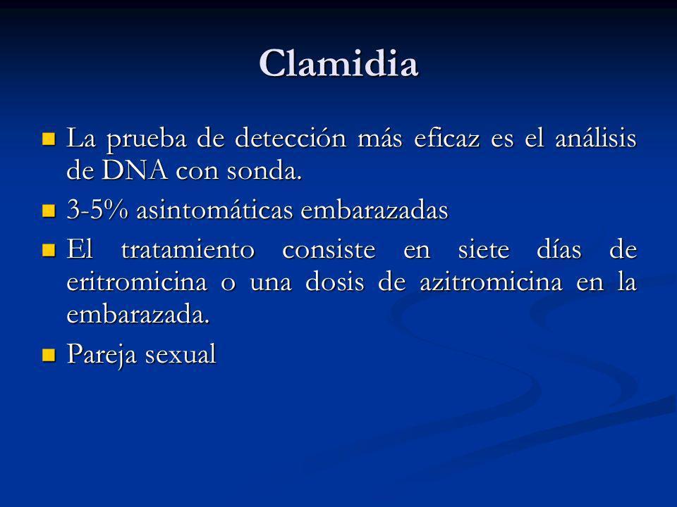Clamidia La prueba de detección más eficaz es el análisis de DNA con sonda. La prueba de detección más eficaz es el análisis de DNA con sonda. 3-5% as