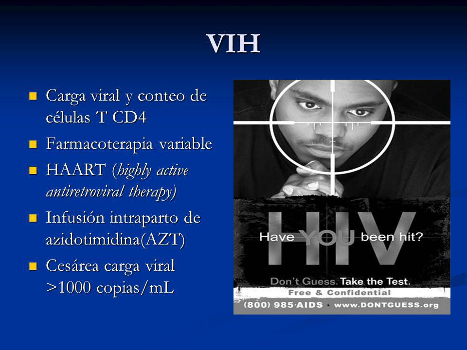 VIH Carga viral y conteo de células T CD4 Carga viral y conteo de células T CD4 Farmacoterapia variable Farmacoterapia variable HAART (highly active a