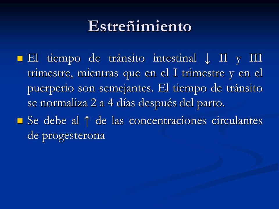 Estreñimiento El tiempo de tránsito intestinal II y III trimestre, mientras que en el I trimestre y en el puerperio son semejantes. El tiempo de tráns