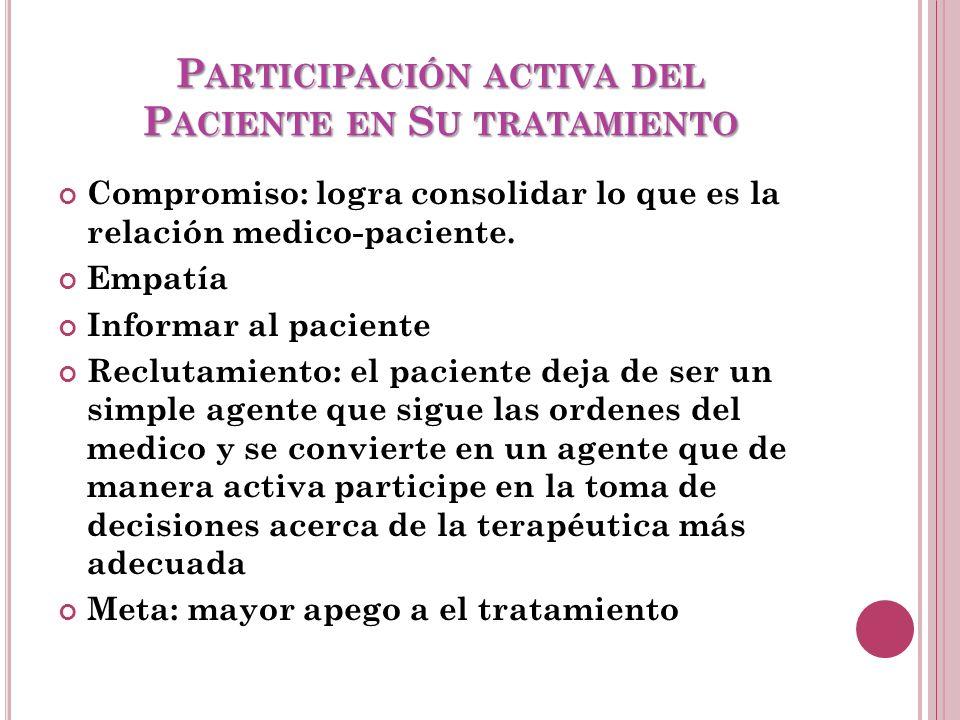 P ARTICIPACIÓN ACTIVA DEL P ACIENTE EN S U TRATAMIENTO Compromiso: logra consolidar lo que es la relación medico-paciente.