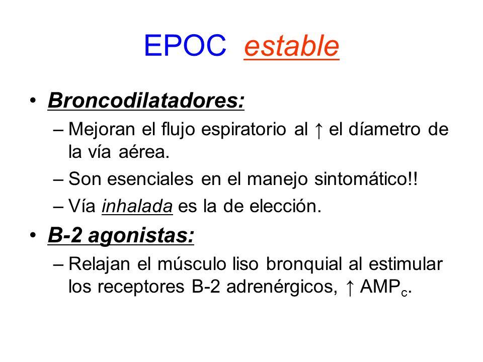 EPOC estable Broncodilatadores: –Mejoran el flujo espiratorio al el díametro de la vía aérea. –Son esenciales en el manejo sintomático!! –Vía inhalada