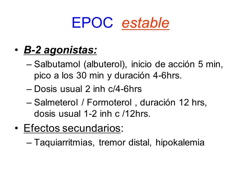 EPOC estable B-2 agonistas: –Salbutamol (albuterol), inicio de acción 5 min, pico a los 30 min y duración 4-6hrs. –Dosis usual 2 inh c/4-6hrs –Salmete