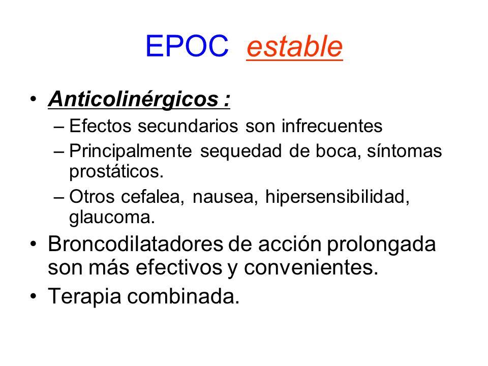 EPOC estable Anticolinérgicos : –Efectos secundarios son infrecuentes –Principalmente sequedad de boca, síntomas prostáticos. –Otros cefalea, nausea,