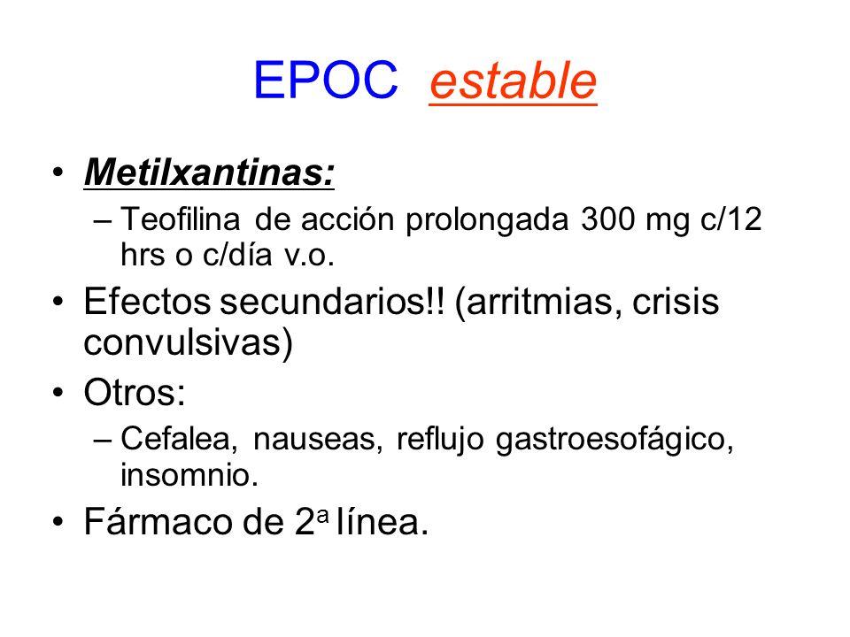 EPOC estable Metilxantinas: –Teofilina de acción prolongada 300 mg c/12 hrs o c/día v.o. Efectos secundarios!! (arritmias, crisis convulsivas) Otros: