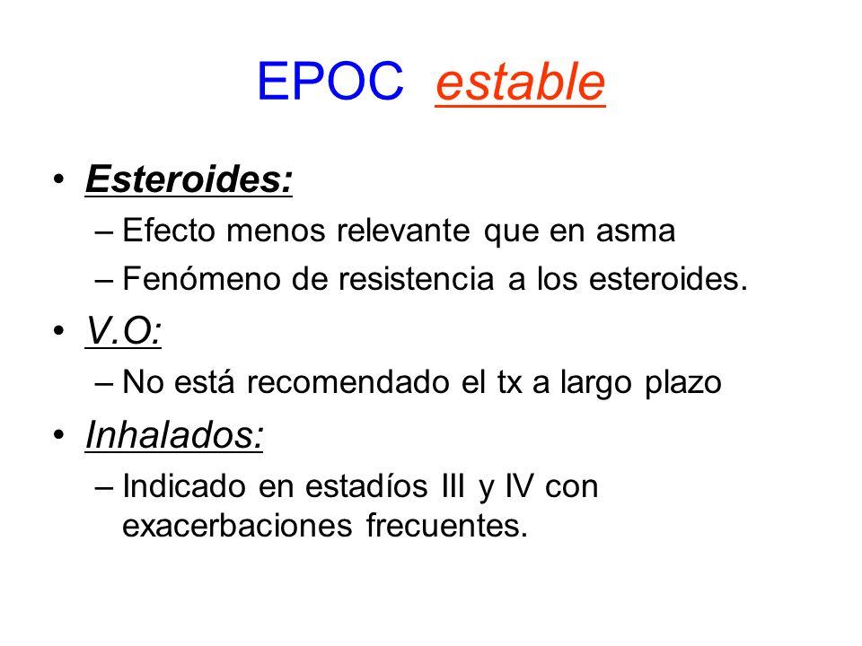 EPOC estable Esteroides: –Efecto menos relevante que en asma –Fenómeno de resistencia a los esteroides. V.O: –No está recomendado el tx a largo plazo