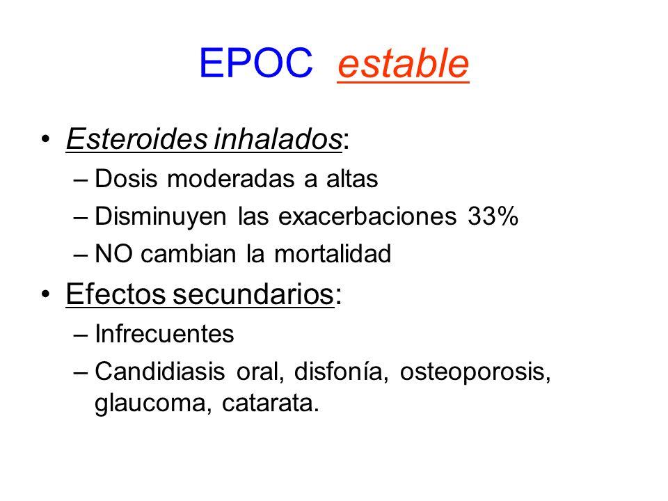 EPOC estable Esteroides inhalados: –Dosis moderadas a altas –Disminuyen las exacerbaciones 33% –NO cambian la mortalidad Efectos secundarios: –Infrecu