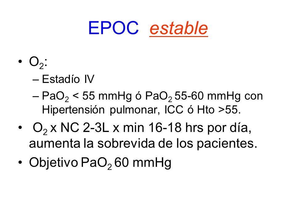 EPOC estable O 2 : –Estadío IV –PaO 2 55. O 2 x NC 2-3L x min 16-18 hrs por día, aumenta la sobrevida de los pacientes. Objetivo PaO 2 60 mmHg