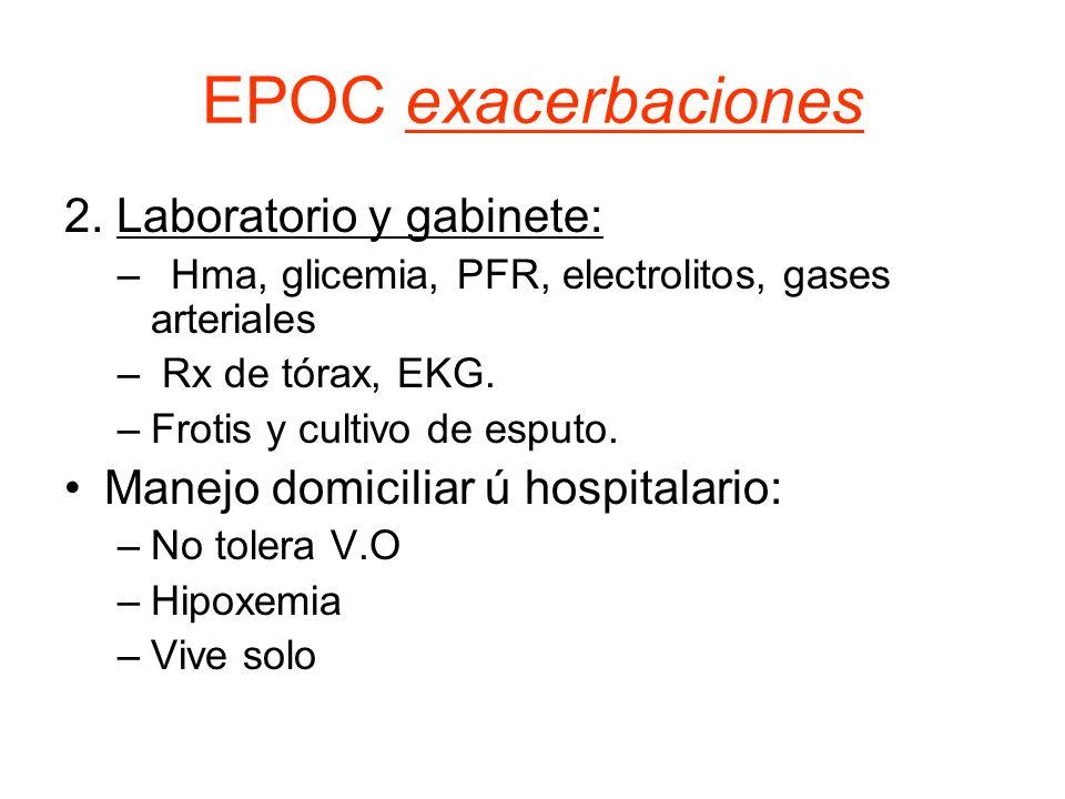 EPOC exacerbaciones 2. Laboratorio y gabinete: –Hma, glicemia, PFR, electrolitos, gases arteriales – Rx de tórax, EKG. –Frotis y cultivo de esputo. Ma