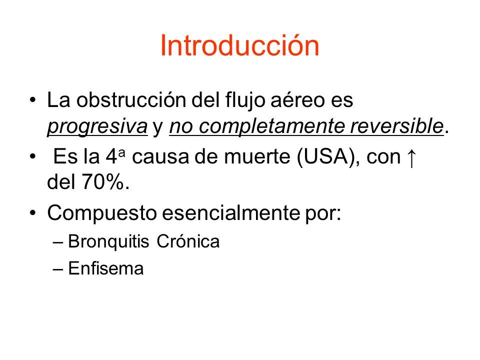 Introducción La obstrucción del flujo aéreo es progresiva y no completamente reversible. Es la 4 a causa de muerte (USA), con del 70%. Compuesto esenc